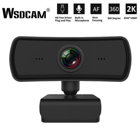 2K 2040*1080P Webcam HD Computer PC WebCamera with Microphone Rotatable Cameras for Live Broadcast Video Calling Conference Work - 24SevenDeals