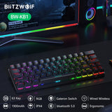 BlitzWolf BW-KB1 Wireless bluetooth Keyboard Gateron Switch RGB 63 Keys Layout NKRO Type-C Mechanical Gaming Black Brown Switch - 24SevenDeals