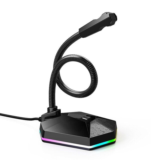 Desktop Capacitive Microphone USB Noise Reduction Computer Microphone with RGB Light Effect for Gaming Live Streaming - 24SevenDeals