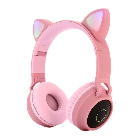 Cute Cat Bluetooth 5.0 Headset Wireless Hifi Music Stereo Bass Headphones LED Light Mobile Phones Girl Daughter Headset For PC - 24SevenDeals