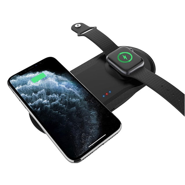 DCAE 15W 3 in 1 Qi Wireless Charger Stand for iPhone 11 XS XR X 8 AirPods Pro Charge Dock Station For Apple Watch iWatch 5 4 3 2 - 24SevenDeals