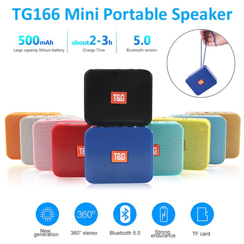 Mini Speaker TG166 Portable Music Player With FM Radio Bluetooth Speakers Subwoofer Outdoor Hands-free Calling  de som altavoces - 24SevenDeals