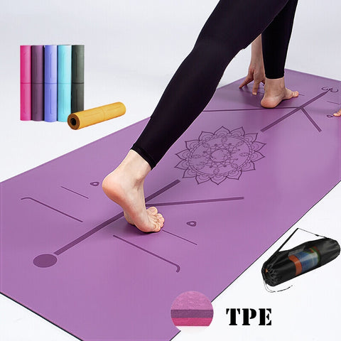183/61/6mm Yoga Mat With Position Line Fitness Gymnastics Mats Double Layer Non-slip Beginner Sport Carpet Pads TPE Mats Yoga - 24SevenDeals