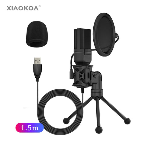 SF-777 Desktop USB Gaming Computer Condenser Microphone with Folding Stand Tripod P-o-p Filter for PC Video Recording Microphone - 24SevenDeals