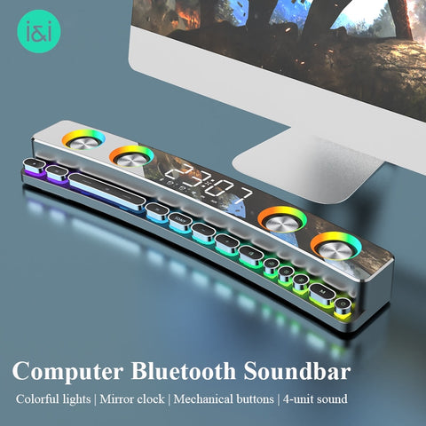 3600mAh Bluetooth Wireless Game Speaker soundbar USB 3D Stereo Subwoofer AUX FM Home Clock Indoor Sound Bar Computer Loudspeaker - 24SevenDeals