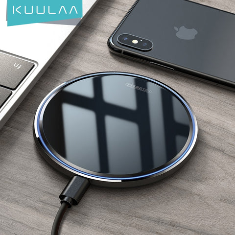 KUULAA 15W Wireless Charger For iPhone X/XS Max XR 8 Plus Mirror Qi Wireless Charging Pad For Samsung S9 S10+ Note 9 8 - 24SevenDeals