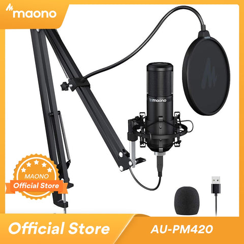 MAONO PM420 Podcast Microphone 192KHZ/24BIT USB Condenser Cardioid PC Mic with Professional Sound Chipset for Gaming Streaming - 24SevenDeals