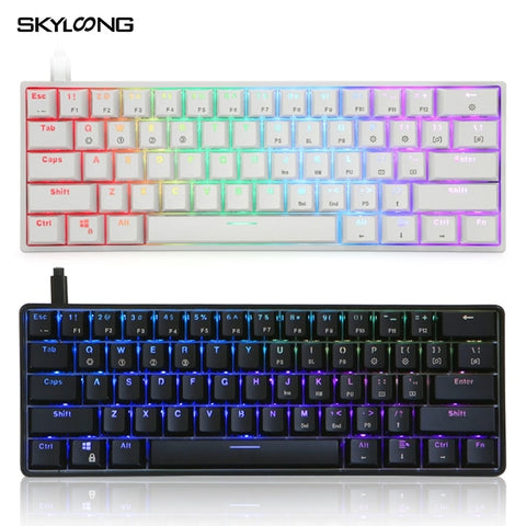 SKYLOONG GK61 SK61 Mechanical Gaming Keyboard 61 Keys Multi Color RGB Illuminated LED Backlit Wired Programmable For PC/Mac/Win - 24SevenDeals