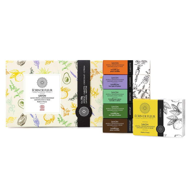 Handmade Soap Gift Set - 6 Pack ( Lemon, Mint, Carrot, Avocado, Chocolate, Lavender ) - TRIVESA SRL