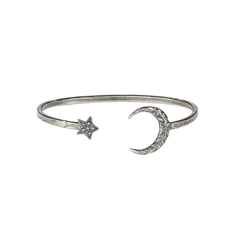 Silver New Moon & Star Cuff