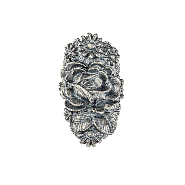 Silver Large Rose Ring