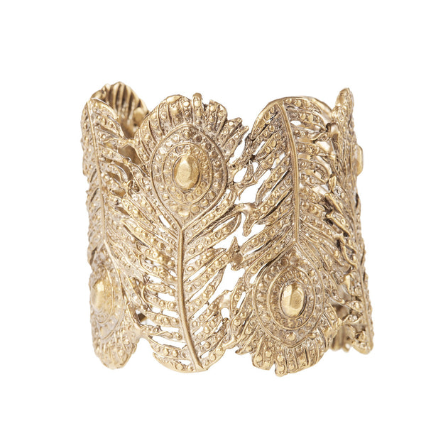 Peacock Feather Cuff, Wide