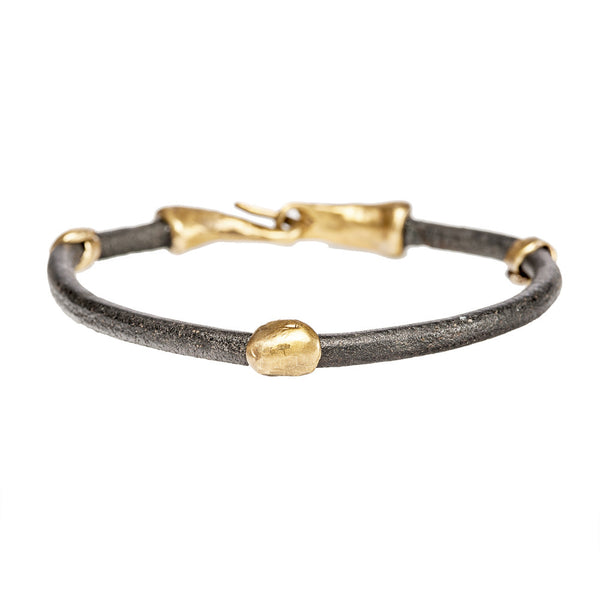 3 Bead Leather Bracelet