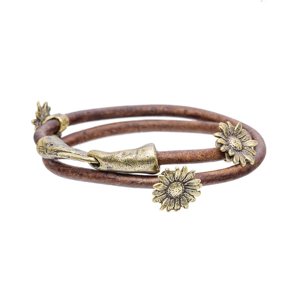 Sunflower Leather Bracelet