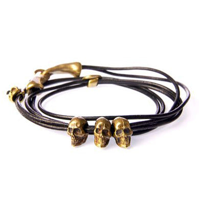 Three Skull Leather Triple Wrap