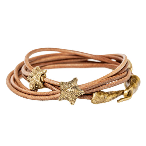 Starfish Double Wrap Leather Bracelet