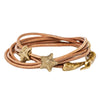 Image of Starfish Double Wrap Leather Bracelet