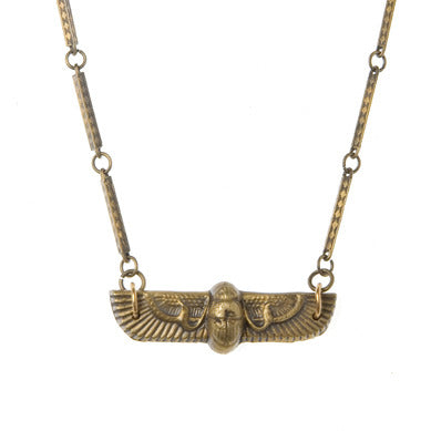 Deco Winged Scarab Necklace