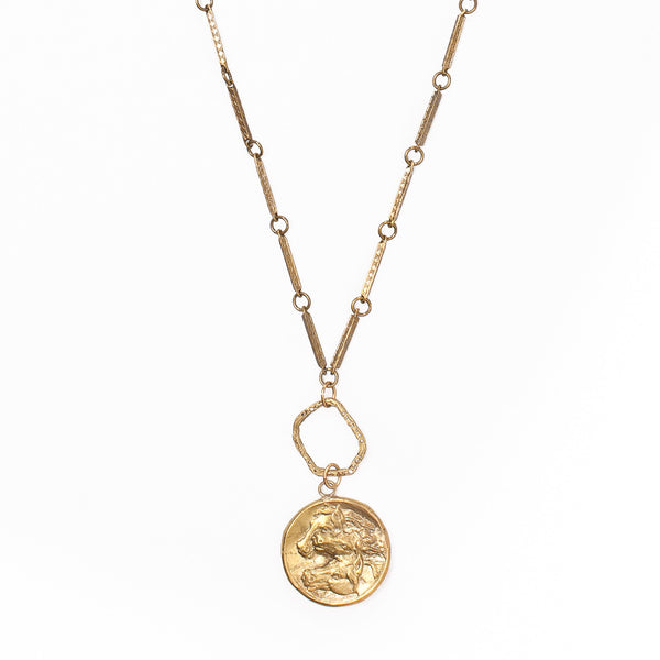 Horses Coin & Textured Circle Necklace