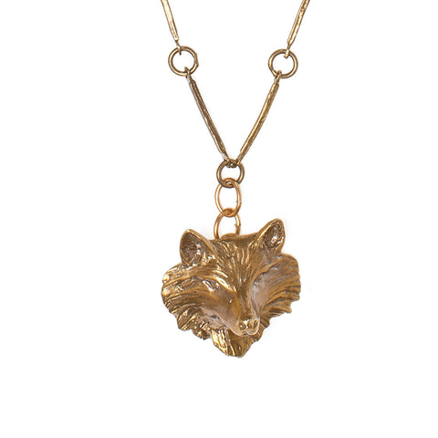 Fox Face on Vintage Chain Necklace