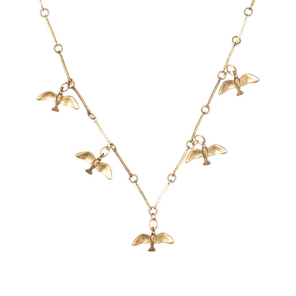 Tiny Flying Birds Necklace