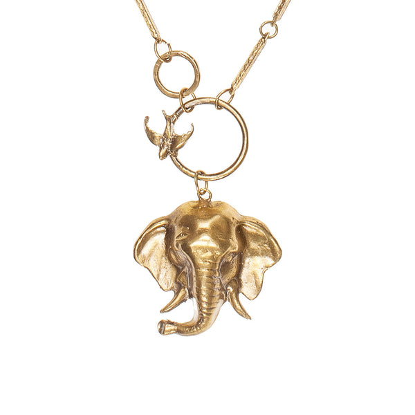 Elephant Trunk Up & Bird Circle Necklace