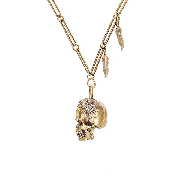 Skull & Feathers Necklace