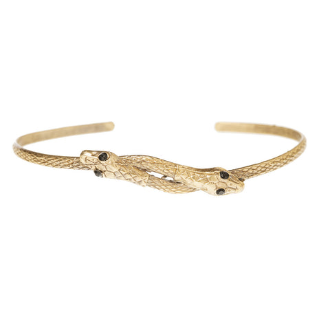Thin Double Serpent Bangle