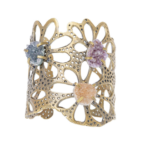 Lotus Root with Druzy Crystals Cuff