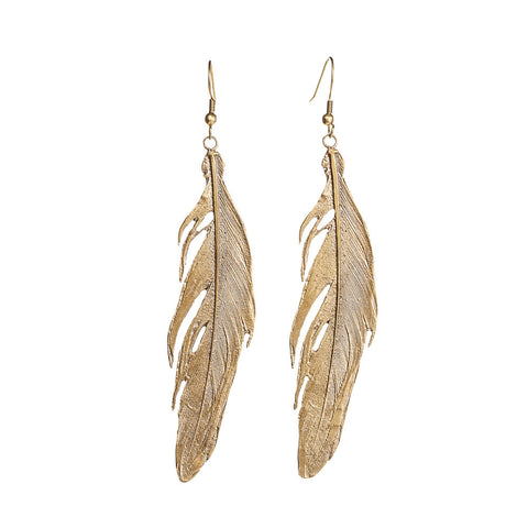 Large Costa Rican Metal Feather Earrings