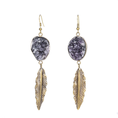 Amethyst Druzy with Feather Earrings