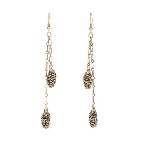 Pinecones on Vintage Chain Earrings