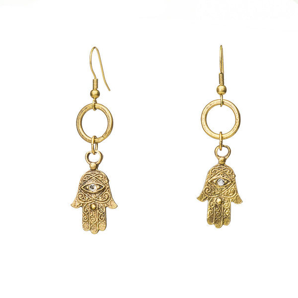 Hamsa earrings with Austrian Evil Eye Crystal Detail