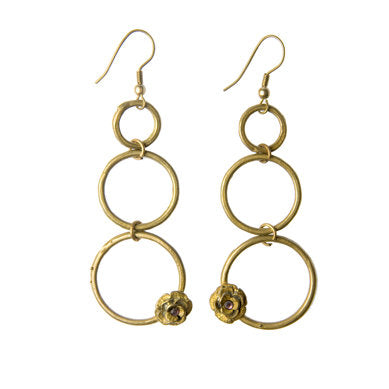 Three Circle Flower Earrings