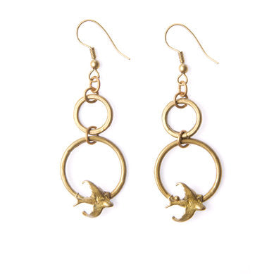 Double Bird Circle Earrings