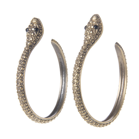 Textured Serpent Hoops