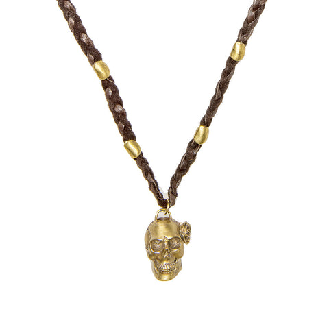 Skull with Rose Braided Buckskin