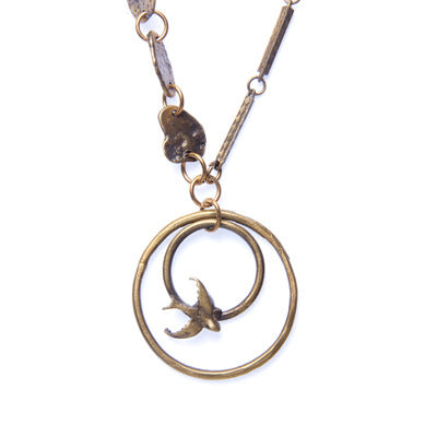 Double Bird Circle Necklace