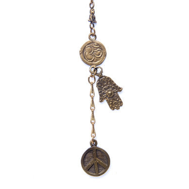 Tiny Buddha, Om, Hamsa & Peace Coin Necklace