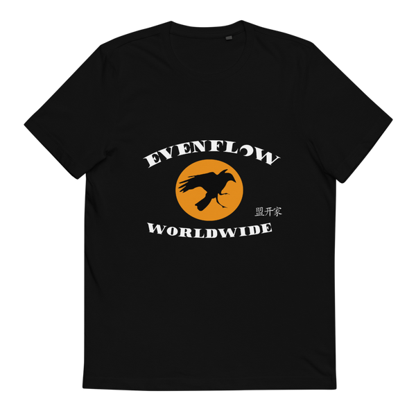 Evenflow Full Moon Unisex Organic Cotton T-Shirt Black/Orange