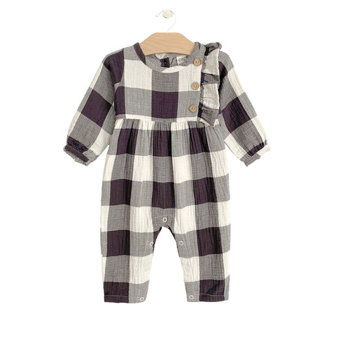 Crinkle Side Button Romper - Buffalo Check