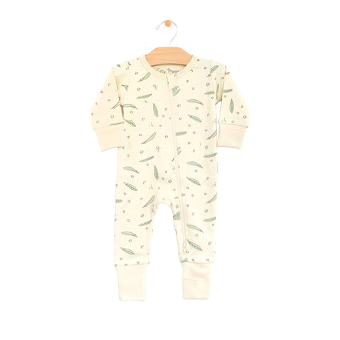 2-Way Zip Romper - Peas