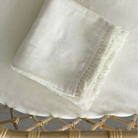 Muslin Fringe Heirloom Blanket - Natural