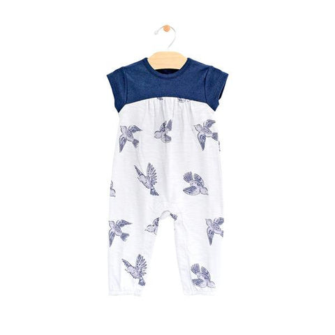 Multi-Media Long Romper- Bluebirds