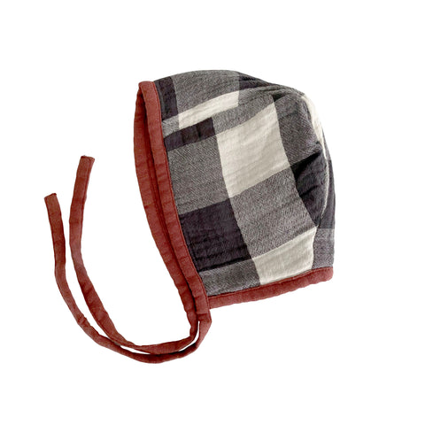 Muslin Bonnet - Buffalo Check & Rust