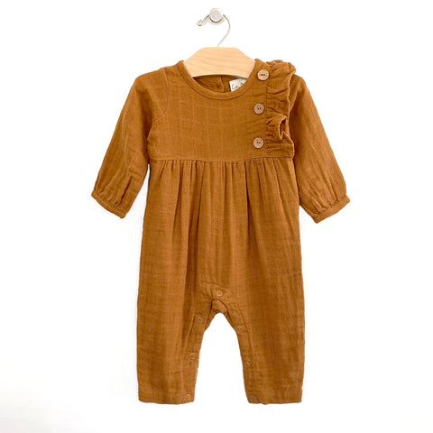 Muslin Side Button Romper - Amber