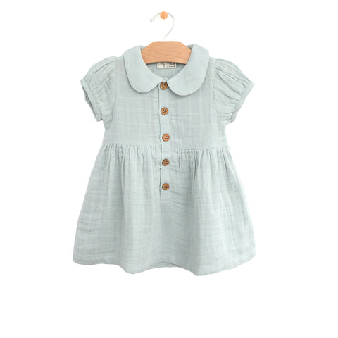 Muslin Button Dress- Sky