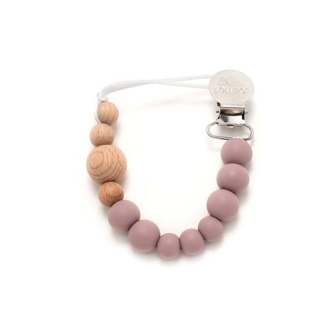 Color Block Wood & Silicone Pacifier Clip - Mauve