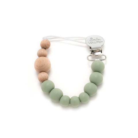 Color Block Wood & Silicone Pacifier Clip - Sage