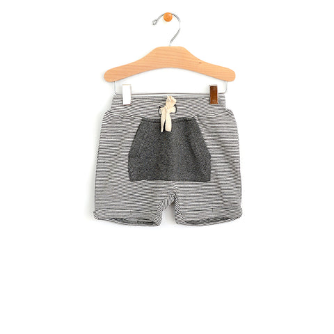 Kangaroo Poocket Short - Dark Melange Stripe